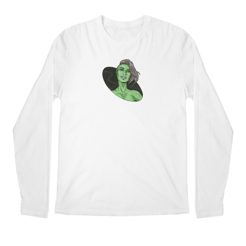 Green Alien 1 Men's Regular Longsleeve T-Shirt by Natalie McKean