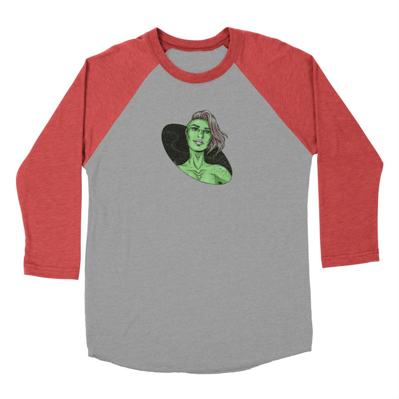 Green Alien 1 Women's Baseball Triblend Longsleeve T-Shirt by Natalie McKean