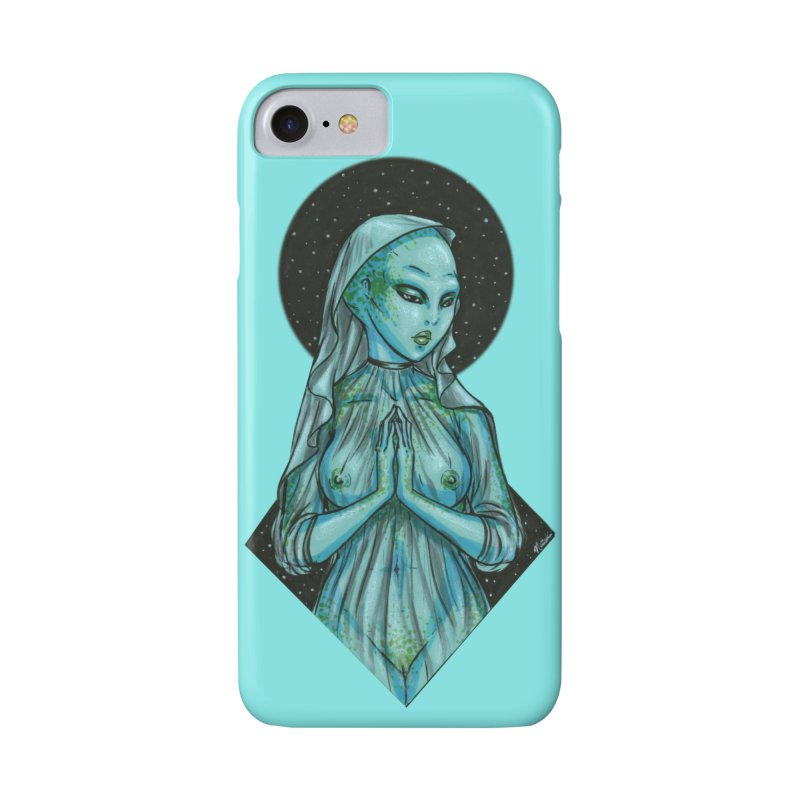 Blue Alien 1 in iPhone 8 Phone Case Slim by Natalie McKean