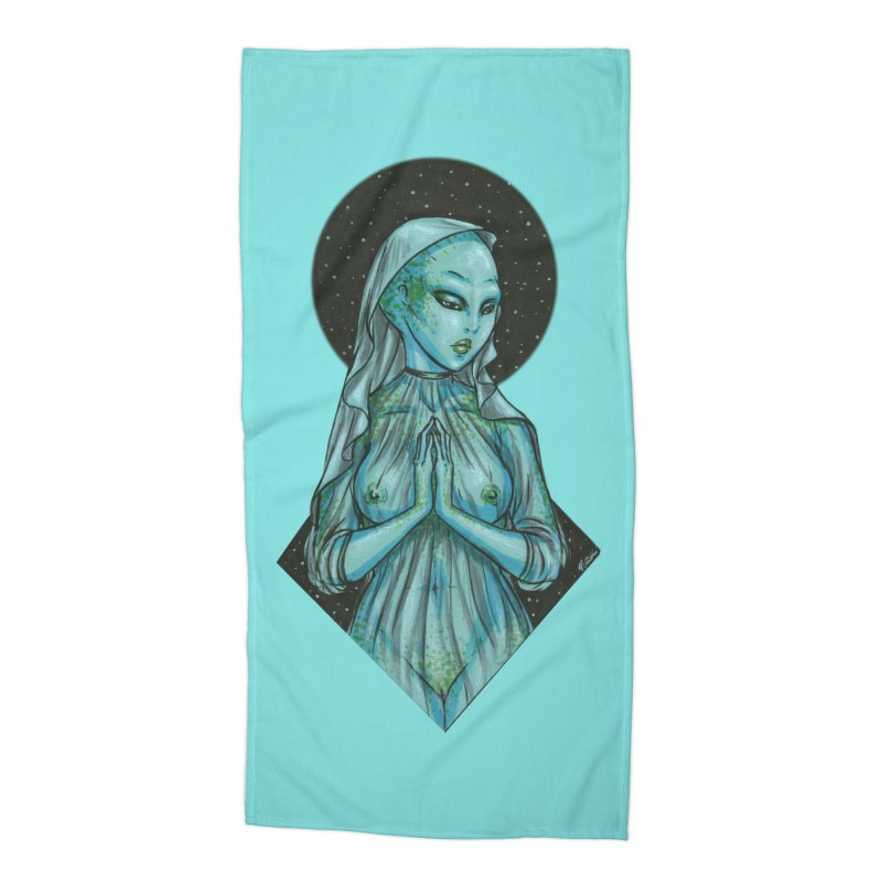 Blue Alien 1 Accessories Beach Towel by Natalie McKean