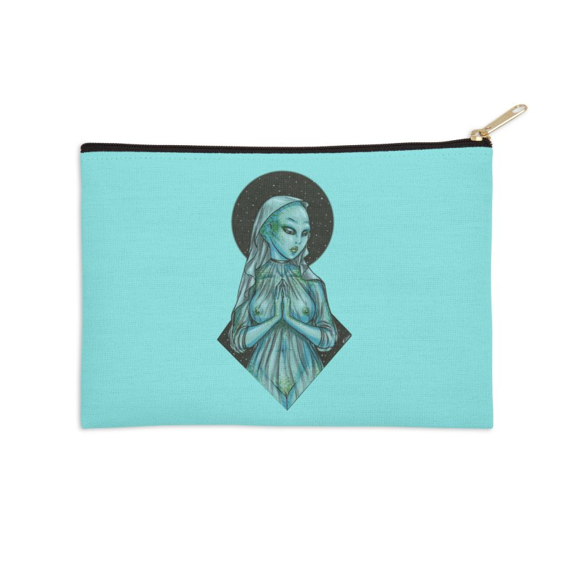 Blue Alien 1 Accessories Zip Pouch by Natalie McKean