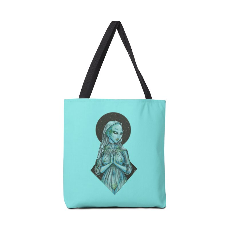 Blue Alien 1 Accessories Bag by Natalie McKean