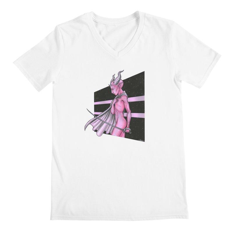 Pink Alien 1 Men's V-Neck by Natalie McKean