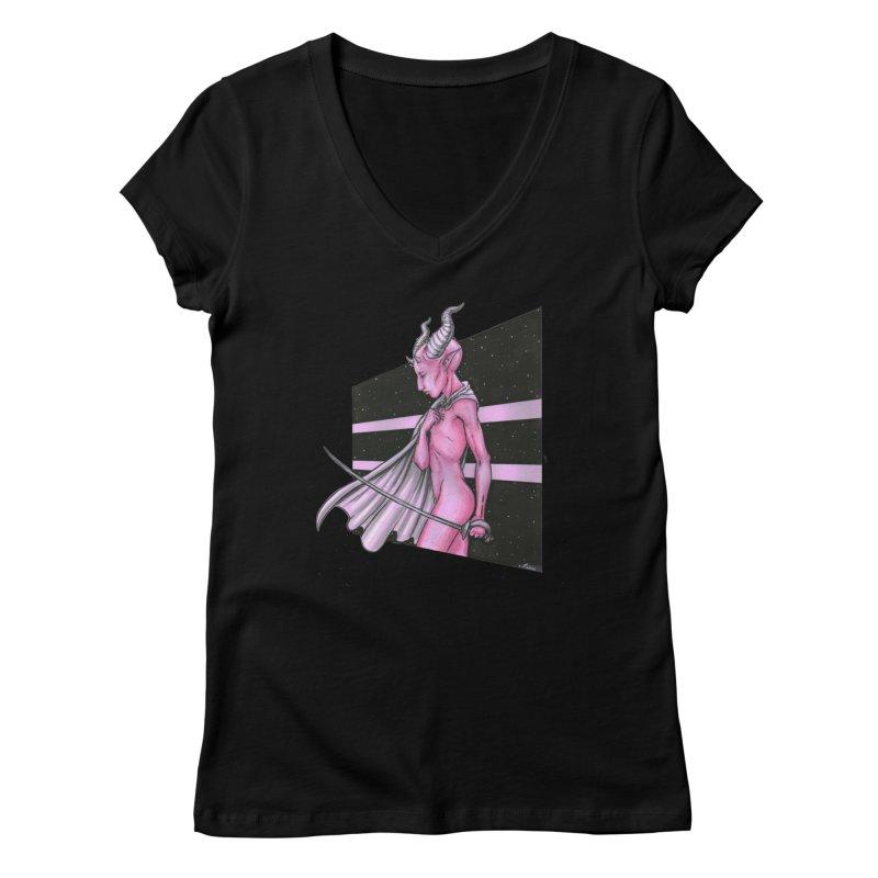 Pink Alien 1 Women's V-Neck by Natalie McKean