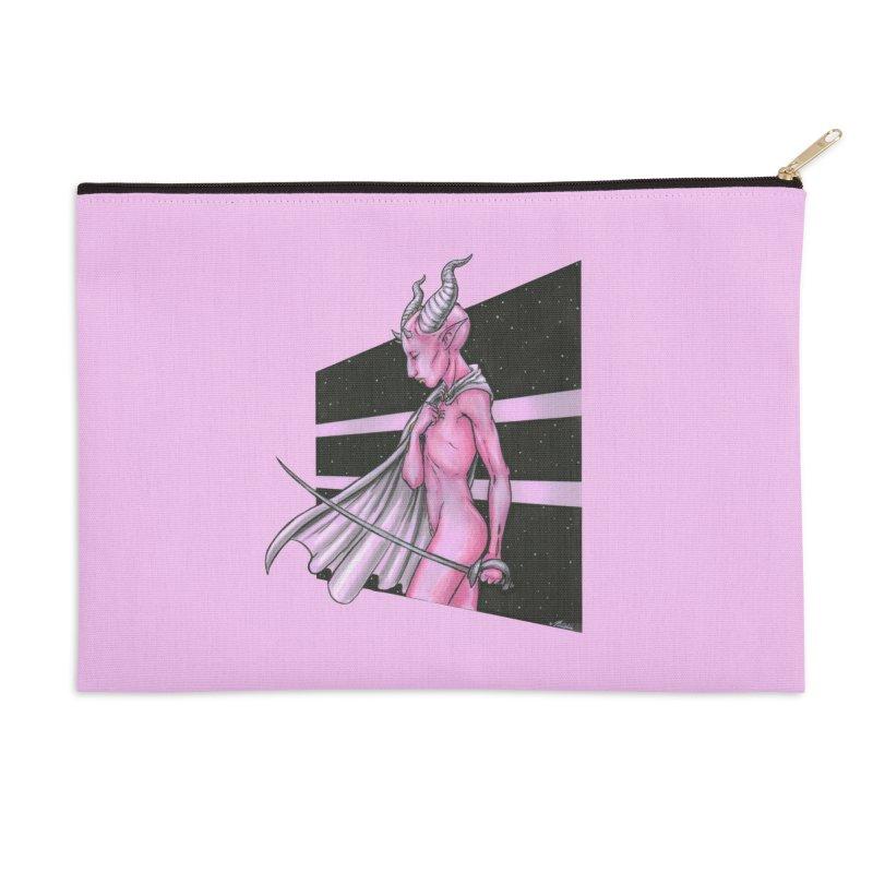 Pink Alien 1 Accessories Zip Pouch by Natalie McKean