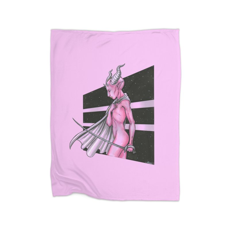 Pink Alien 1 Home Blanket by Natalie McKean