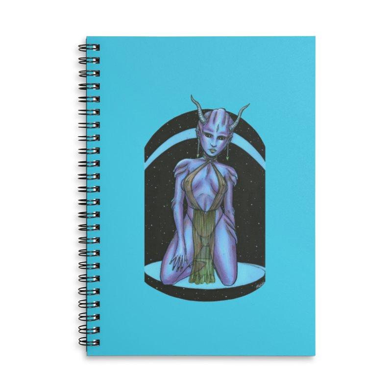 Purple Alien 1 Accessories Lined Spiral Notebook by Natalie McKean