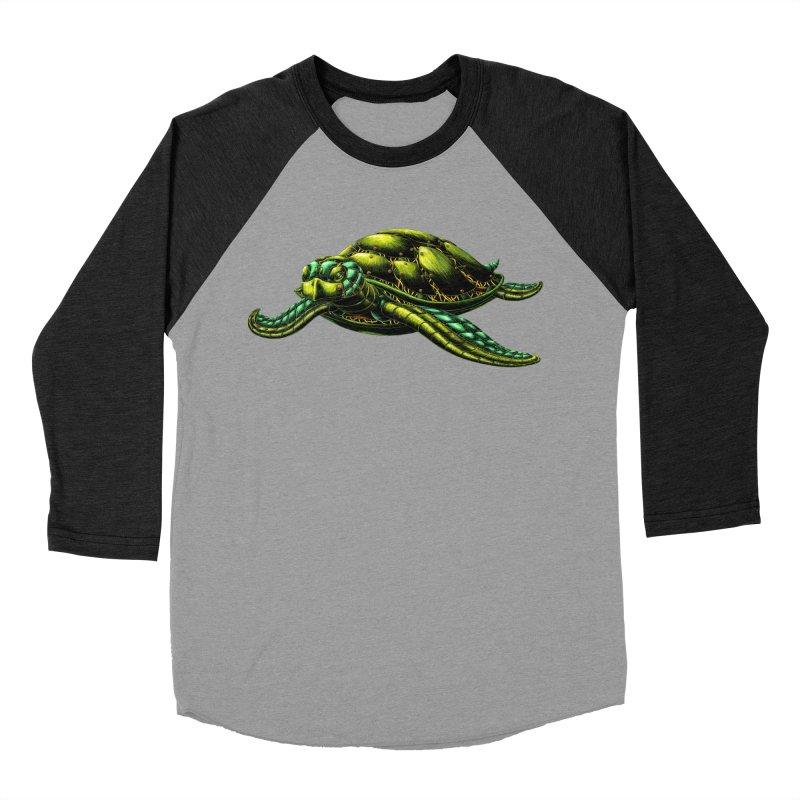 Robot Sea Turtle Women's Baseball Triblend Longsleeve T-Shirt by Natalie McKean