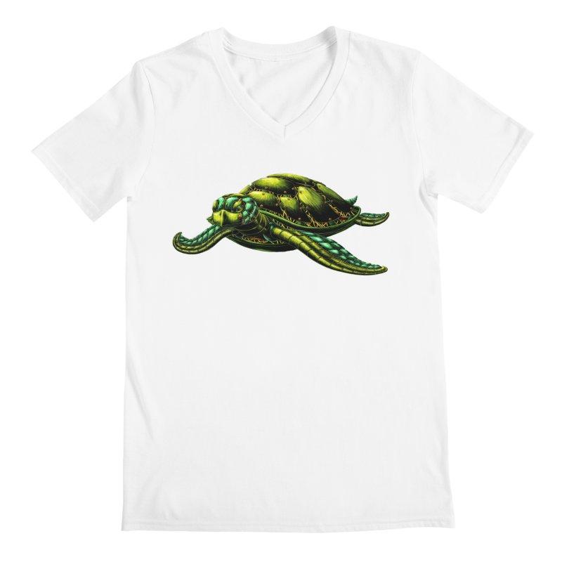 Robot Sea Turtle Men's V-Neck by Natalie McKean