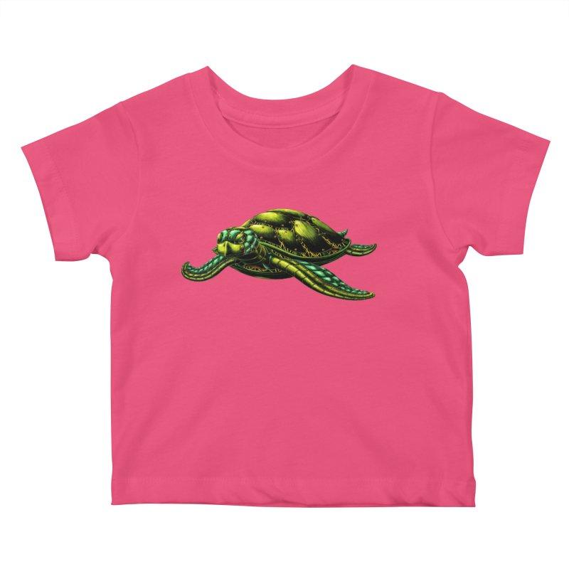 Robot Sea Turtle Kids Baby T-Shirt by Natalie McKean