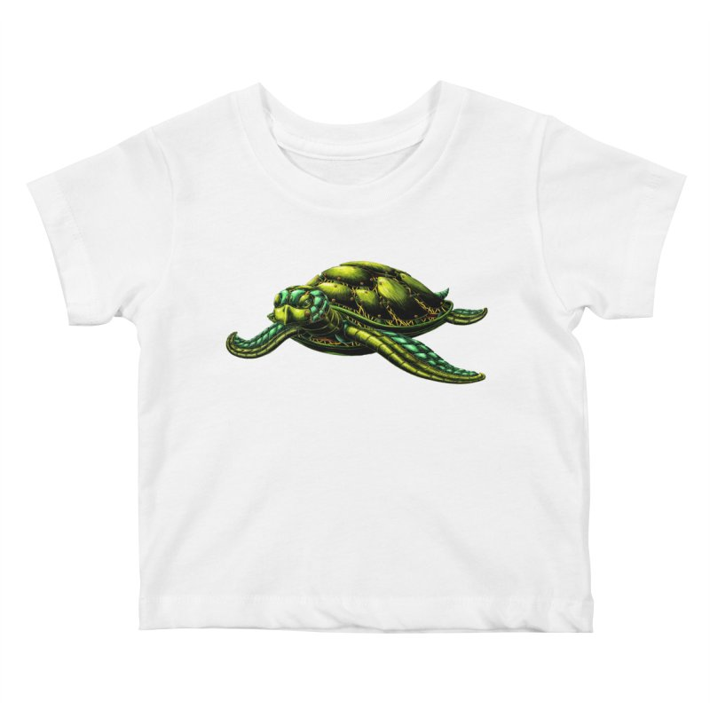 Robot Sea Turtle Kids Baby T-Shirt by Natalie McKean