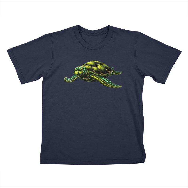 Robot Sea Turtle Kids T-Shirt by Natalie McKean
