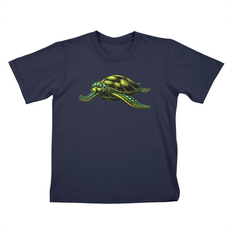 Robot Sea Turtle Kids T-Shirt by Natalie McKean