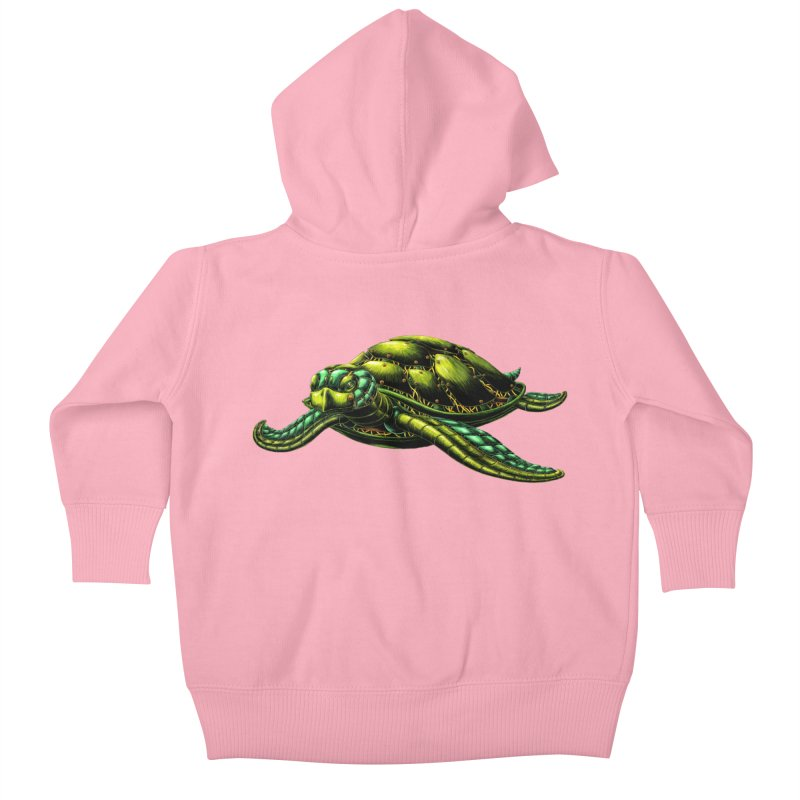 Robot Sea Turtle Kids Baby Zip-Up Hoody by Natalie McKean