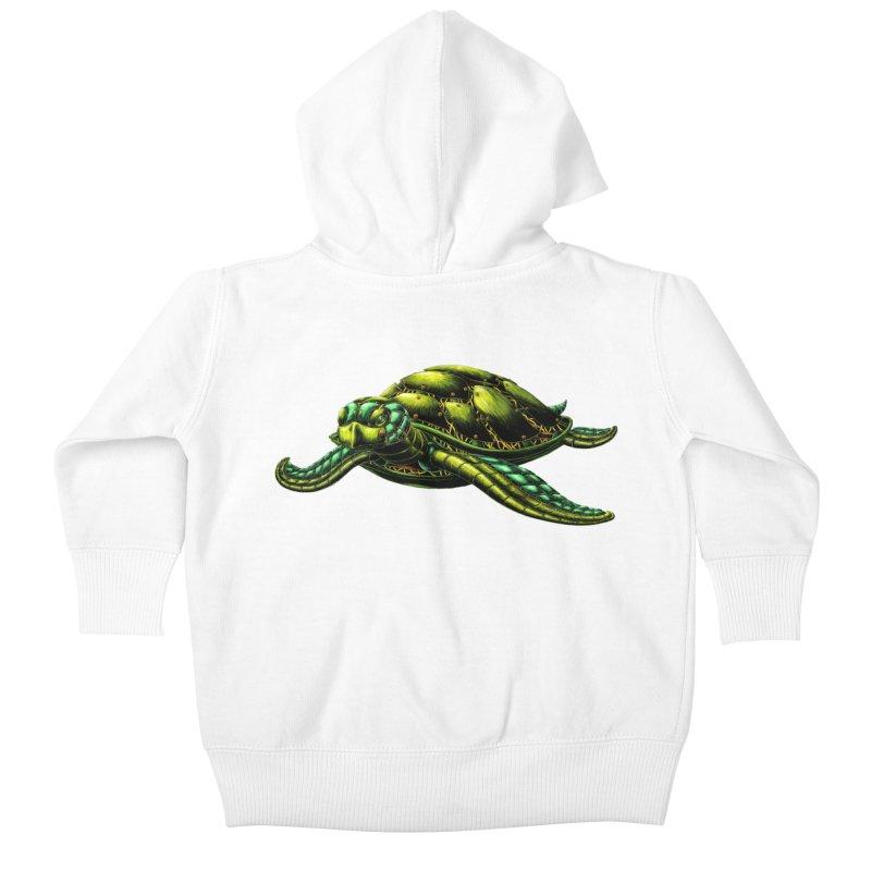Robot Sea Turtle Kids Baby Zip-Up Hoody by Natalie McKean