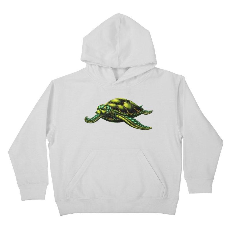 Robot Sea Turtle Kids Pullover Hoody by Natalie McKean