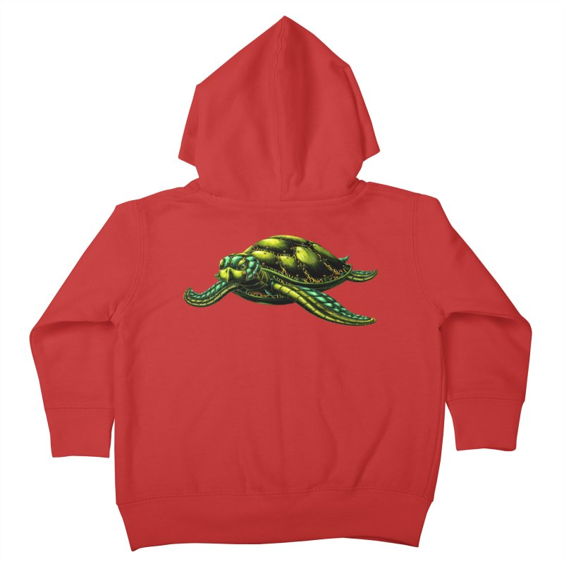 Robot Sea Turtle Kids Toddler Zip-Up Hoody by Natalie McKean