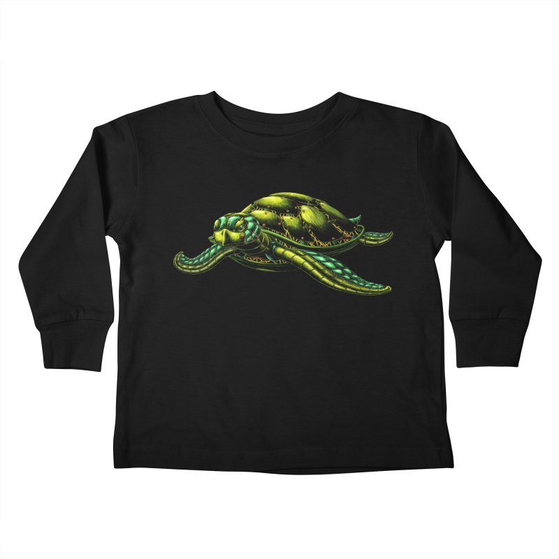 Robot Sea Turtle Kids Toddler Longsleeve T-Shirt by Natalie McKean
