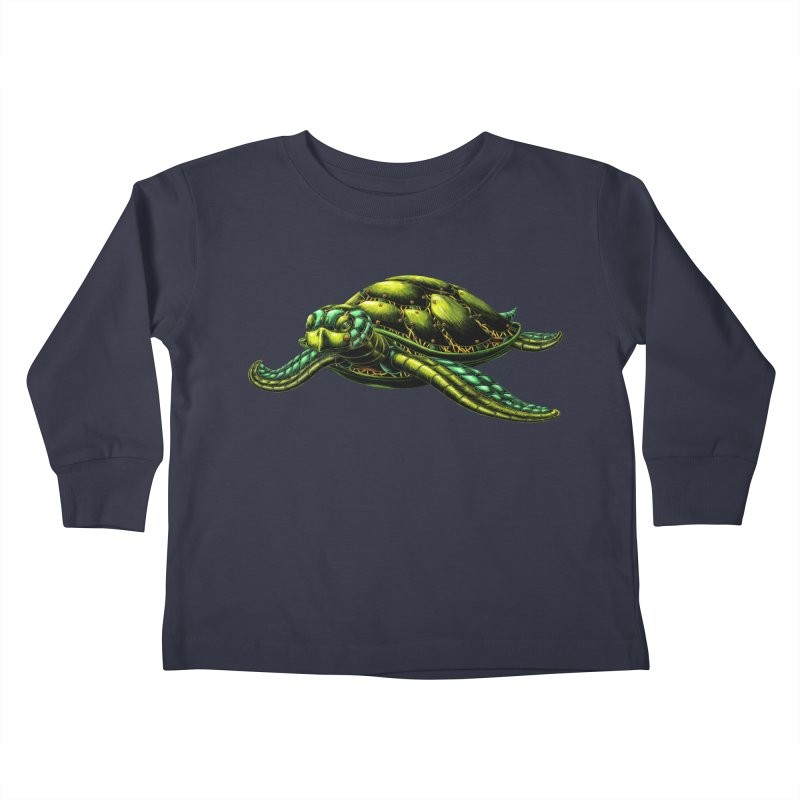 Robot Sea Turtle Kids Toddler Longsleeve T-Shirt by Natalie McKean