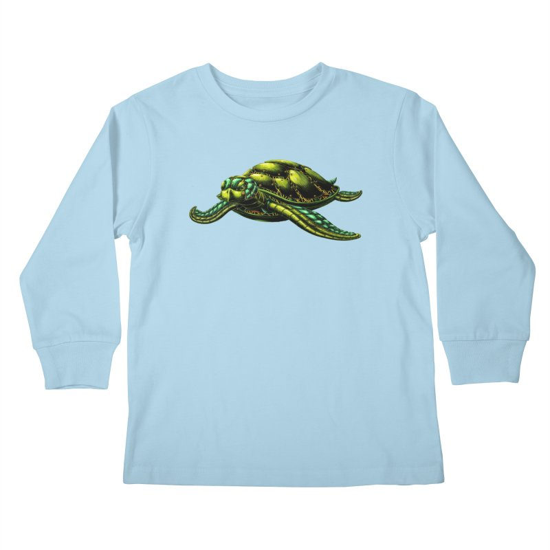 Robot Sea Turtle Kids Longsleeve T-Shirt by Natalie McKean