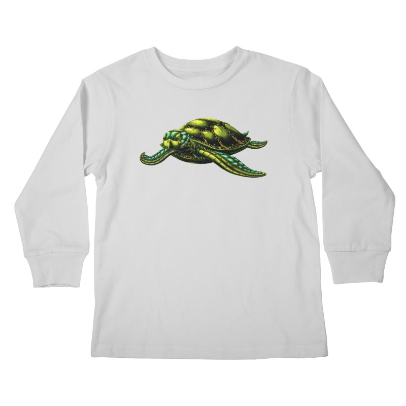 Robot Sea Turtle Kids Longsleeve T-Shirt by Natalie McKean
