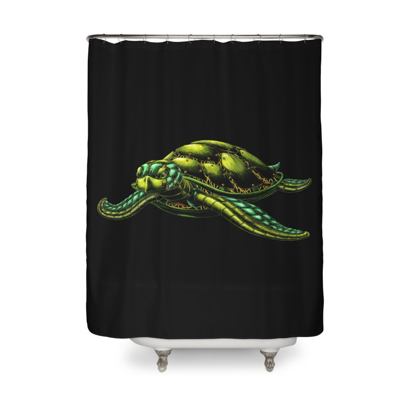 Robot Sea Turtle Home Shower Curtain by Natalie McKean