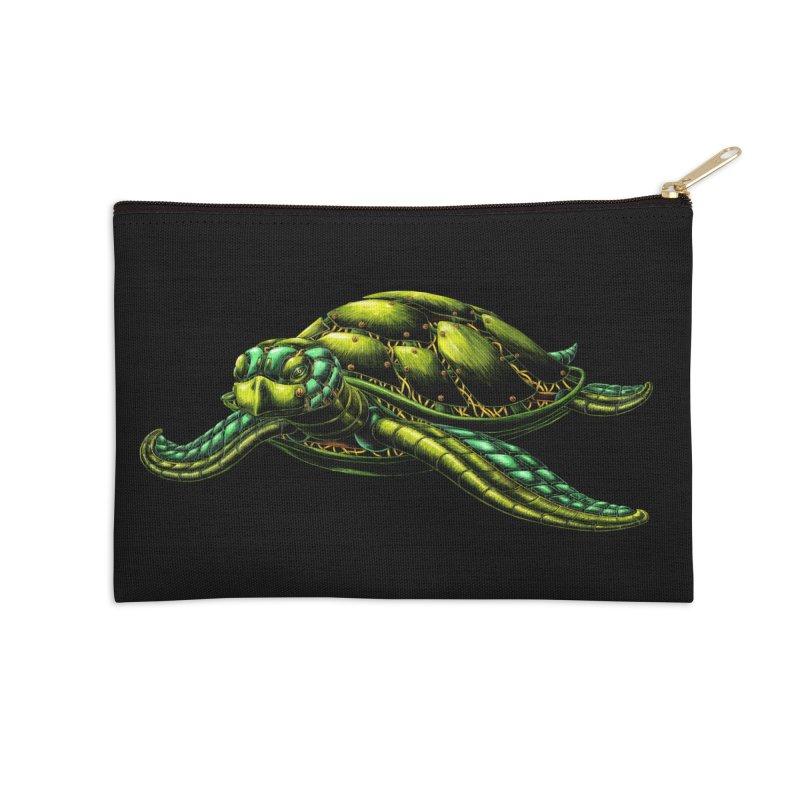Robot Sea Turtle Accessories Zip Pouch by Natalie McKean