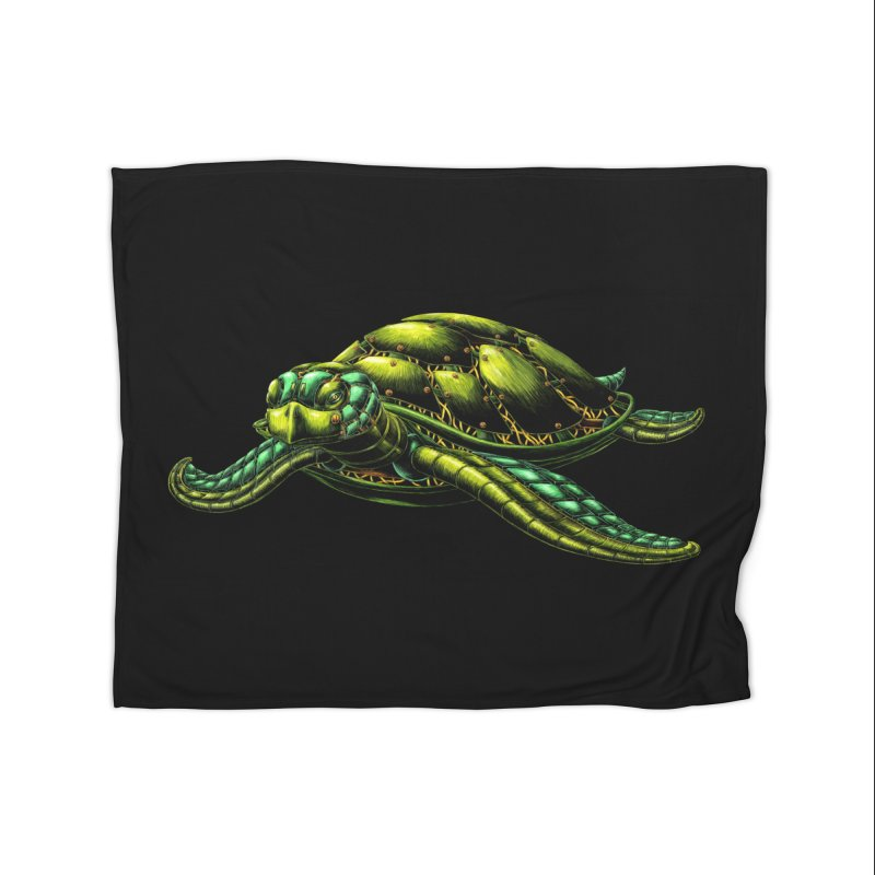 Robot Sea Turtle Home Blanket by Natalie McKean
