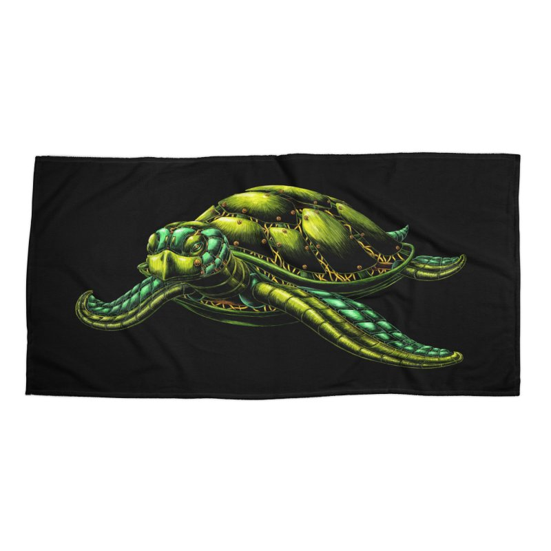 Robot Sea Turtle Accessories Beach Towel by Natalie McKean