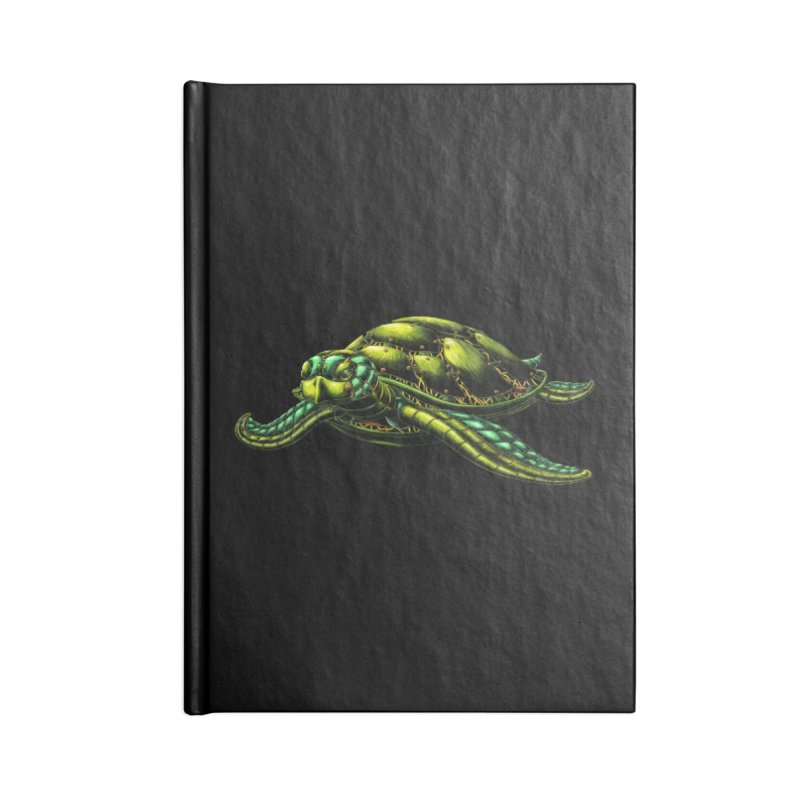 Robot Sea Turtle Accessories Lined Journal Notebook by Natalie McKean