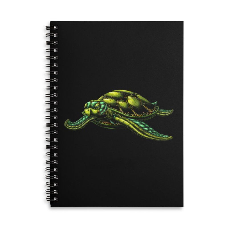 Robot Sea Turtle Accessories Lined Spiral Notebook by Natalie McKean