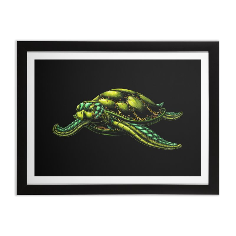 Robot Sea Turtle Home Framed Fine Art Print by Natalie McKean
