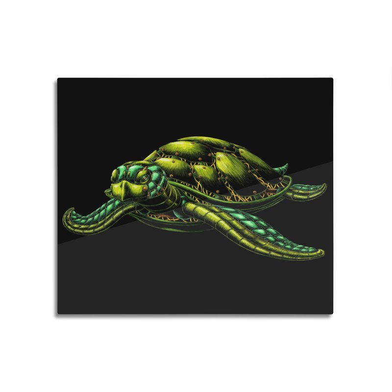 Robot Sea Turtle Home Mounted Aluminum Print by Natalie McKean