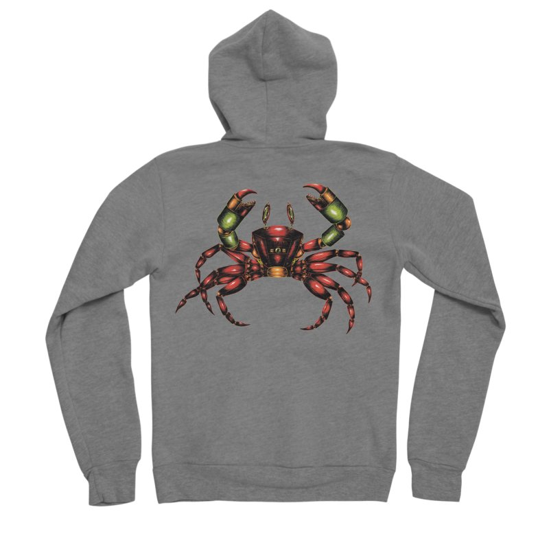 Robot Crab Men's Sponge Fleece Zip-Up Hoody by Natalie McKean
