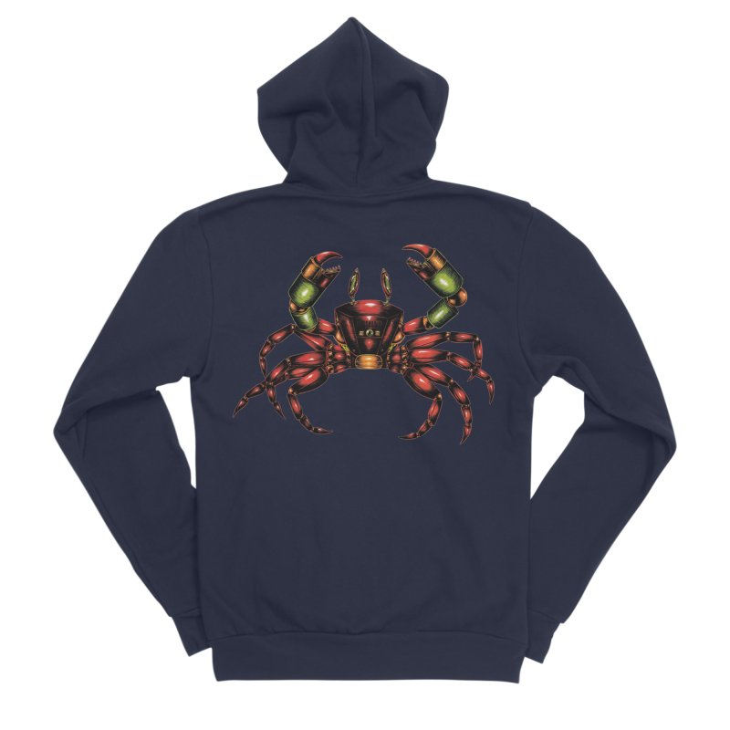 Robot Crab Men's Sponge Fleece Zip-Up Hoody by Natalie McKean