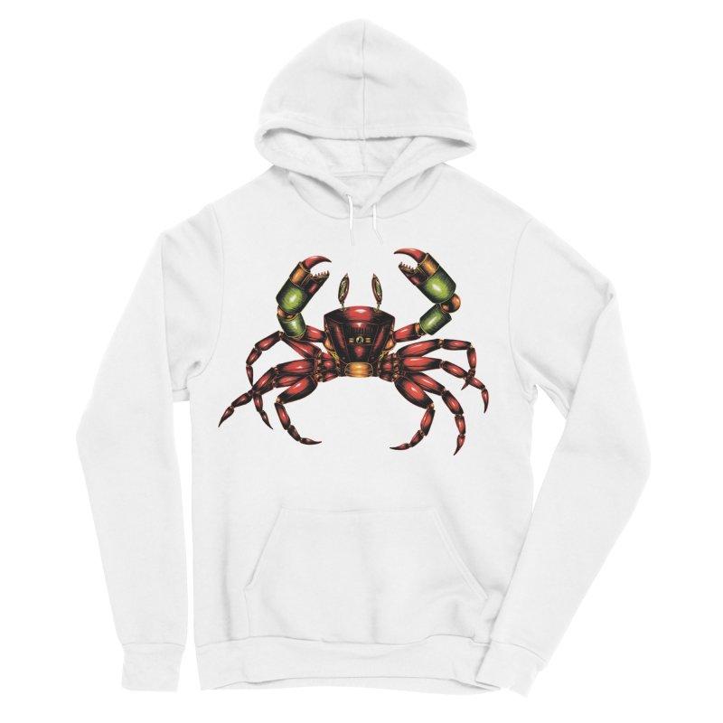 Robot Crab Men's Sponge Fleece Pullover Hoody by Natalie McKean