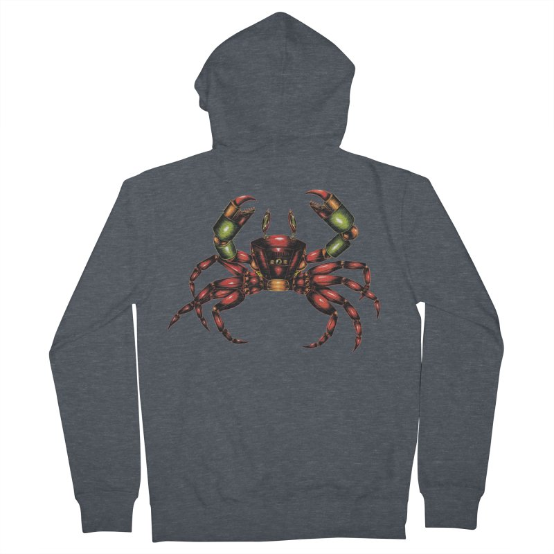 Robot Crab Men's French Terry Zip-Up Hoody by Natalie McKean