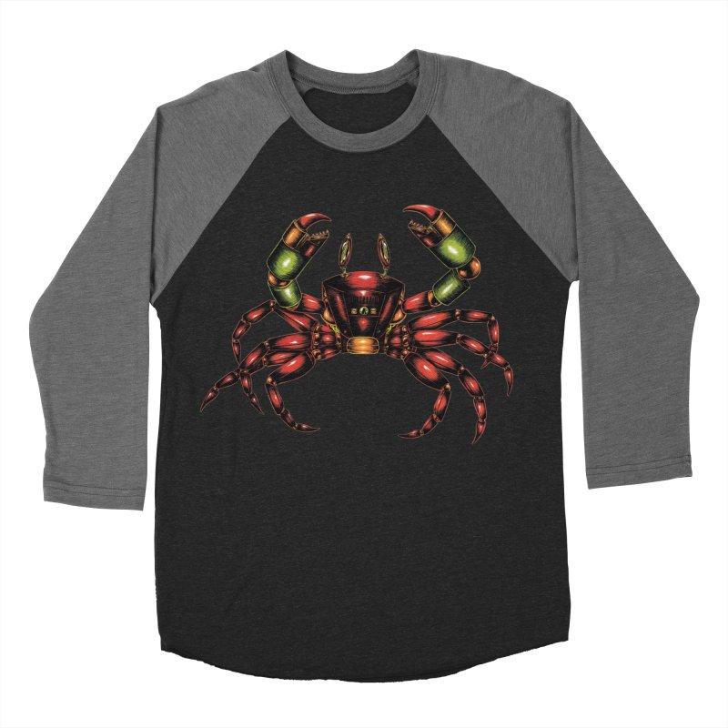 Robot Crab Men's Baseball Triblend Longsleeve T-Shirt by Natalie McKean