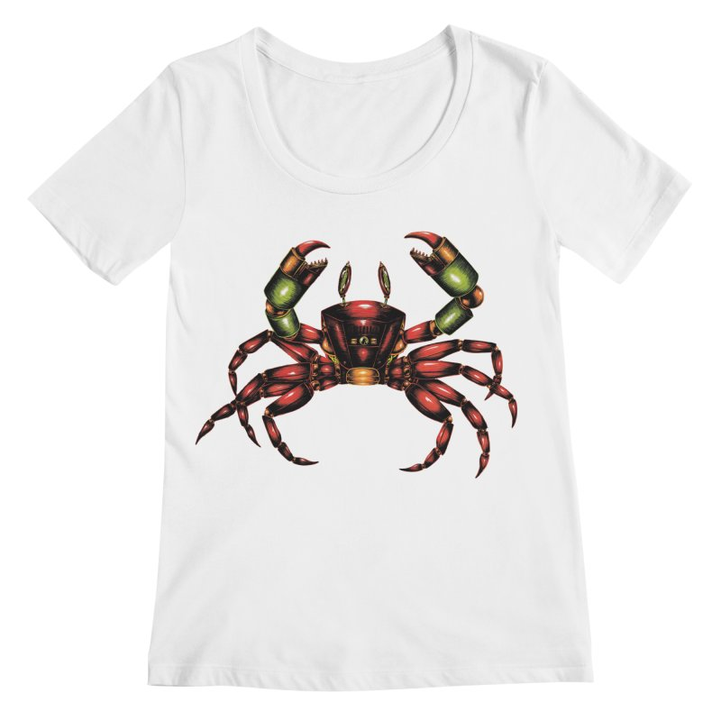 Robot Crab Women's Regular Scoop Neck by Natalie McKean