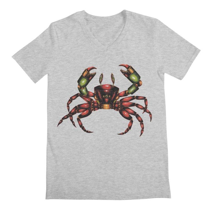 Robot Crab Men's Regular V-Neck by Natalie McKean