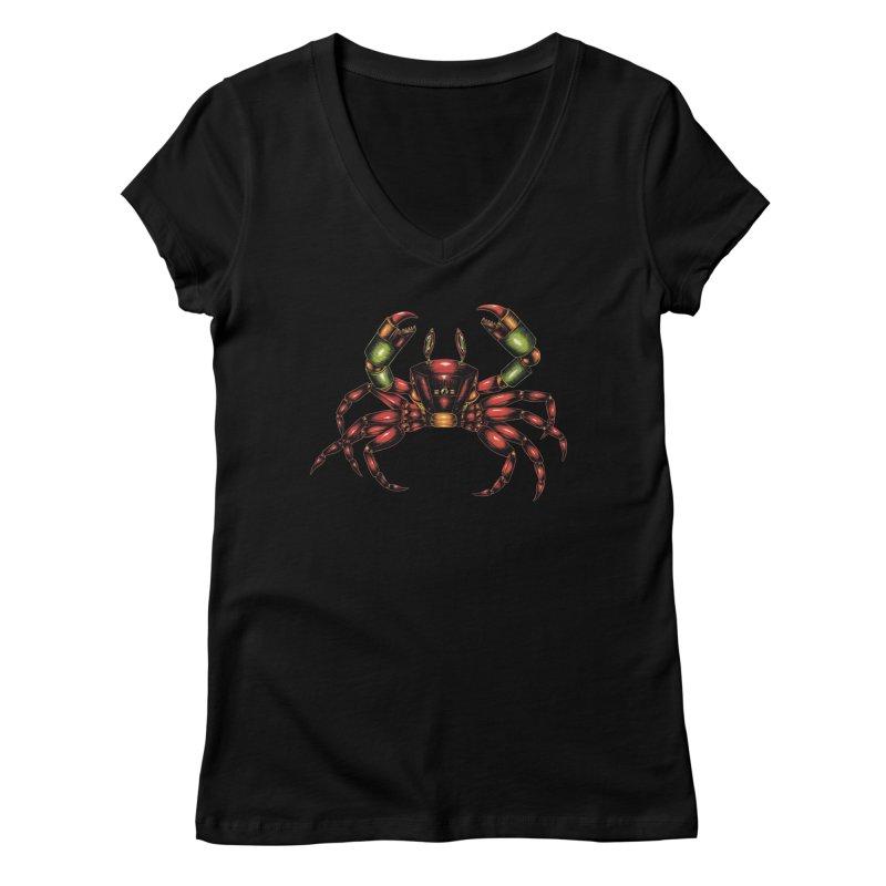 Robot Crab Women's V-Neck by Natalie McKean