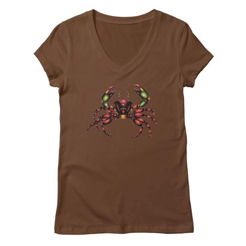 Robot Crab Women's Regular V-Neck by Natalie McKean