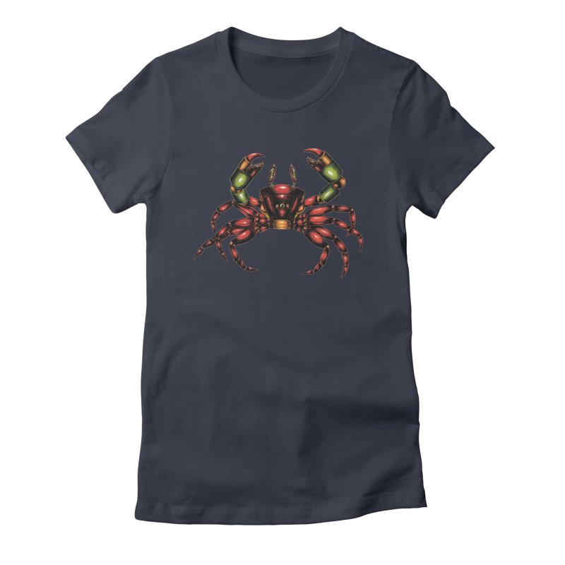 Robot Crab Women's Fitted T-Shirt by Natalie McKean