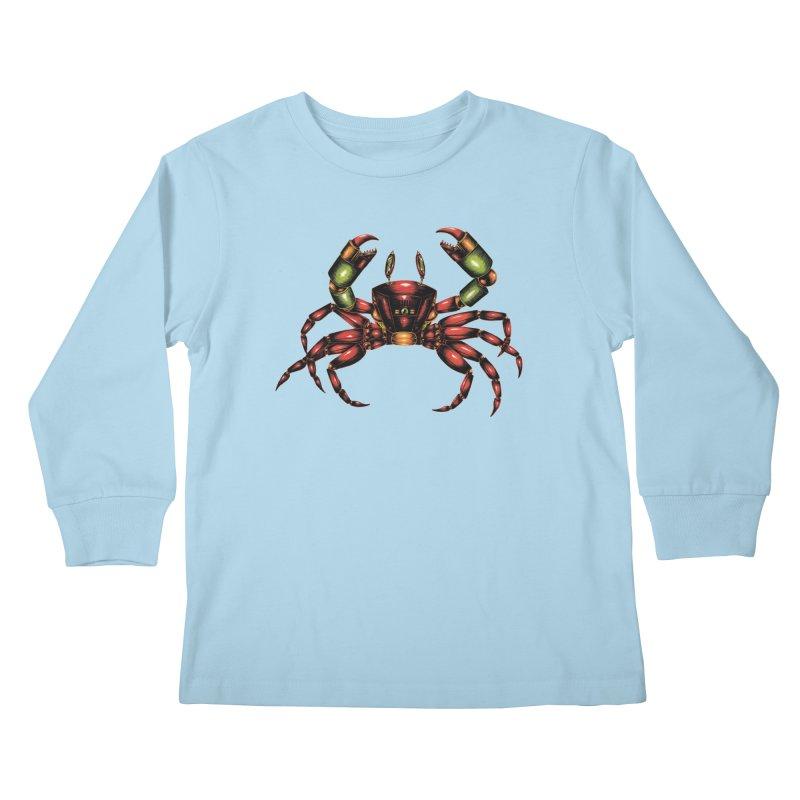 Robot Crab Kids Longsleeve T-Shirt by Natalie McKean
