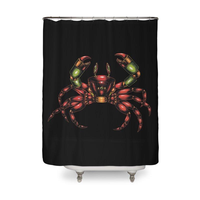 Robot Crab Home Shower Curtain by Natalie McKean