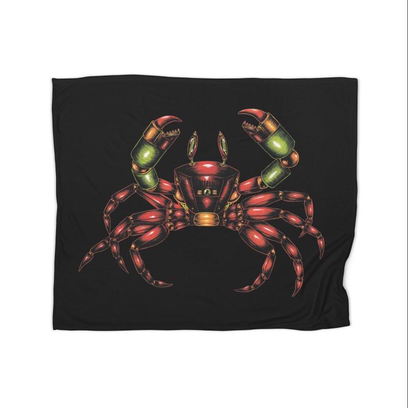 Robot Crab Home Fleece Blanket Blanket by Natalie McKean