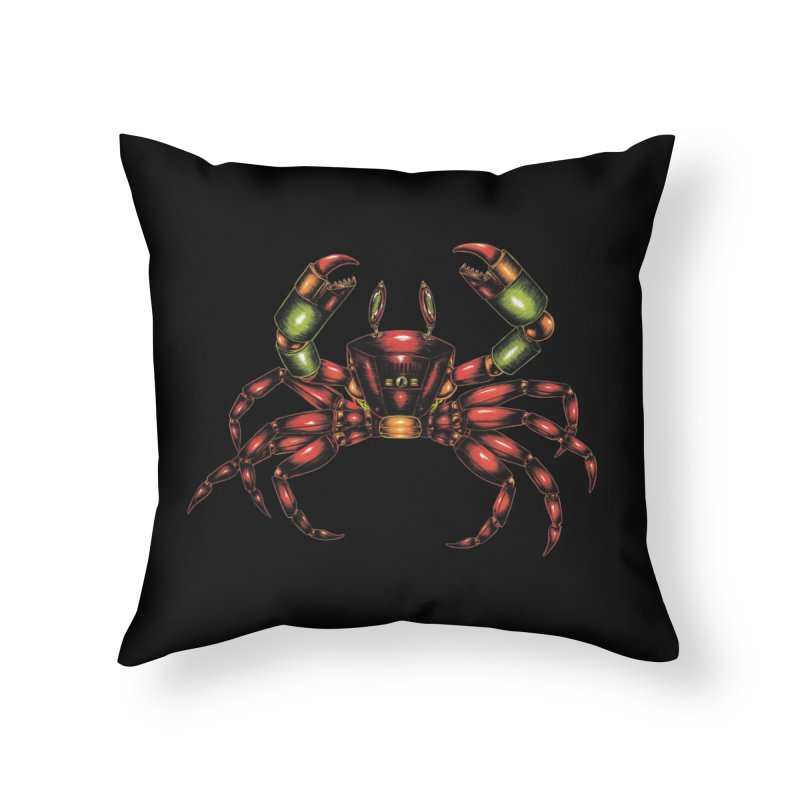 Robot Crab Home Throw Pillow by Natalie McKean