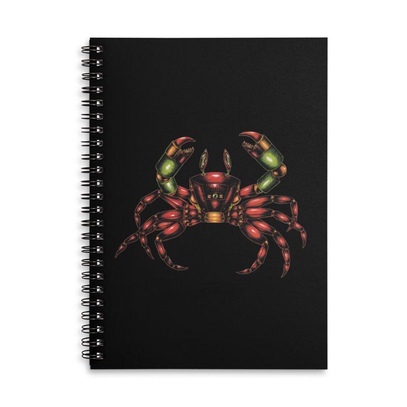 Robot Crab Accessories Lined Spiral Notebook by Natalie McKean