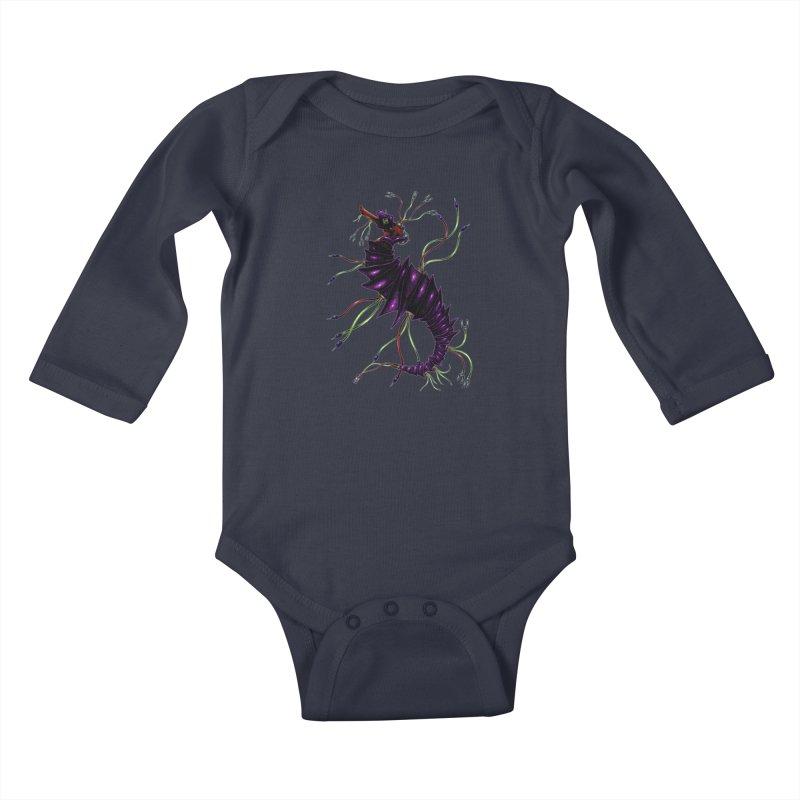 Wirey Sea Dragon Kids Baby Longsleeve Bodysuit by Natalie McKean