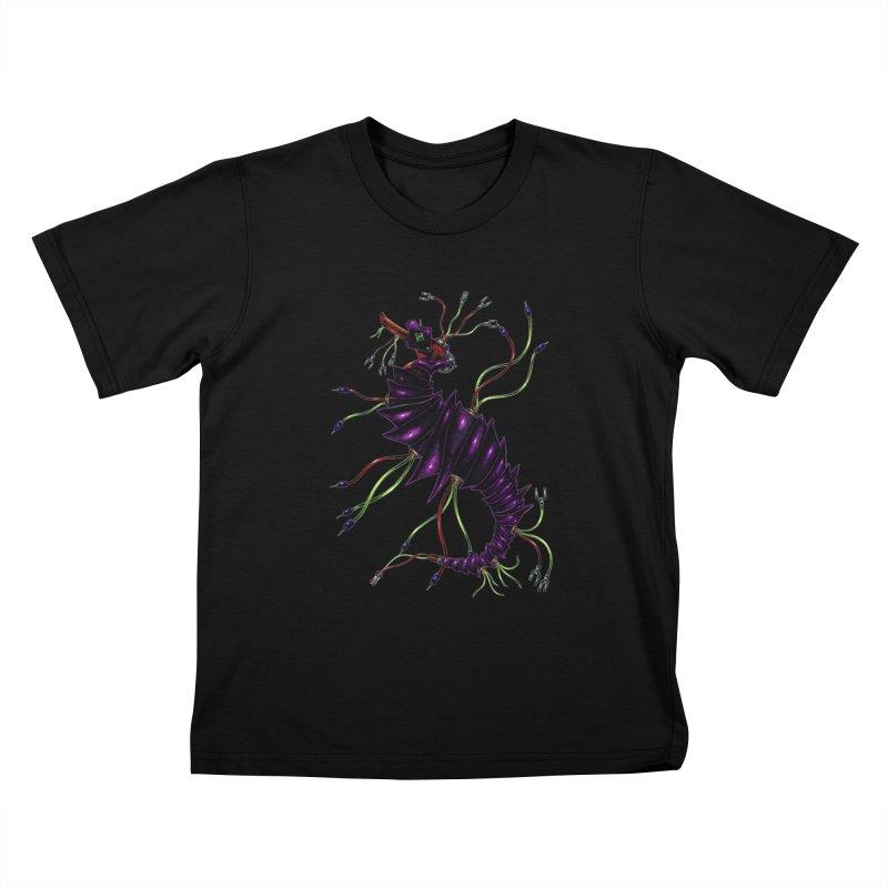 Wirey Sea Dragon Kids T-Shirt by Natalie McKean